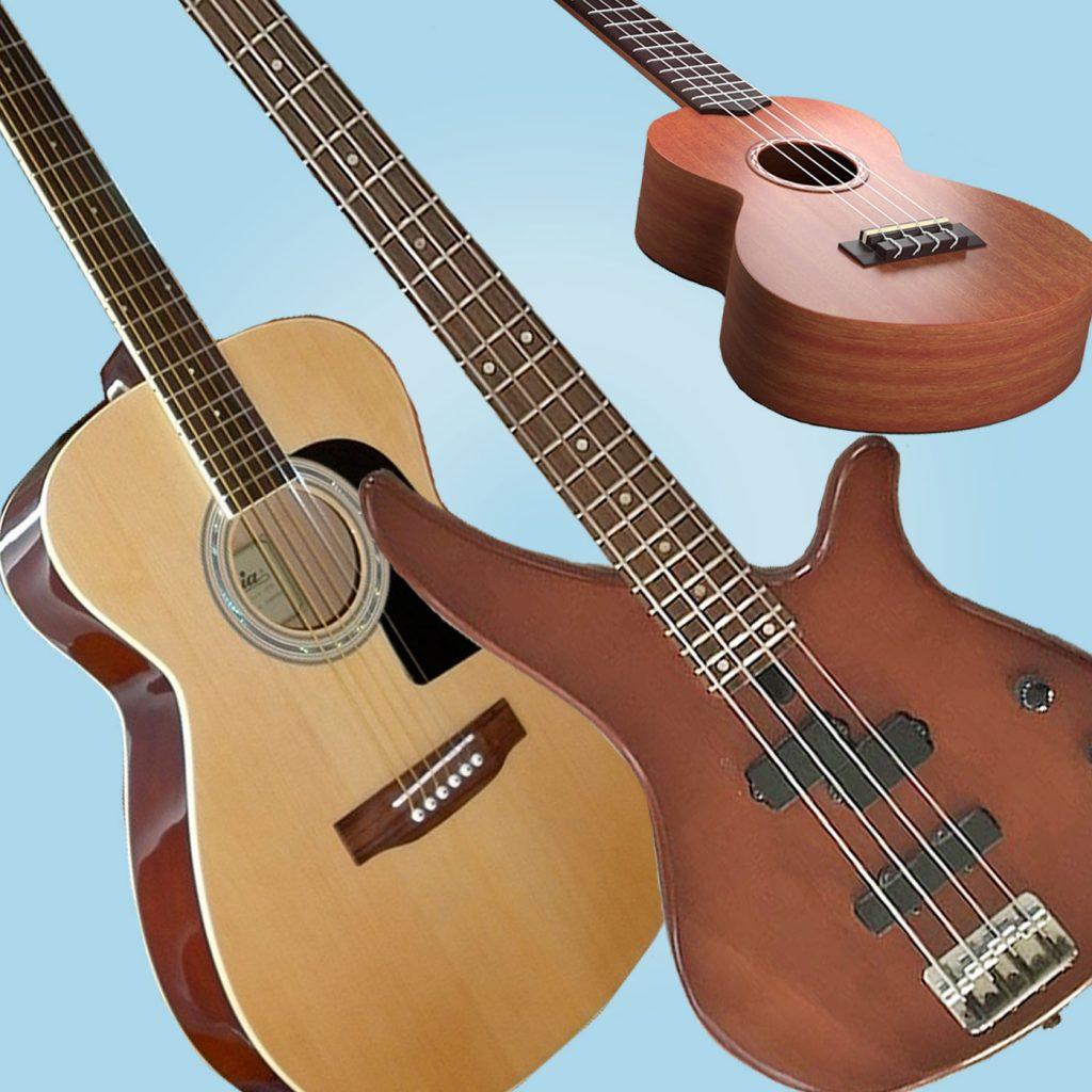 Guitar, Bass Guitar and Ukulele instruments.