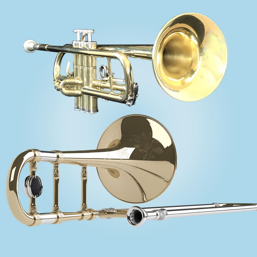 Trumpet and Trombone brass musical instruments.